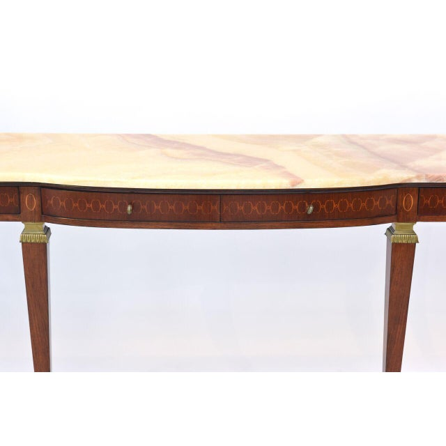 Paolo Buffa Pair of Italian Modern Walnut and Fruitwood Marquetry Inlaid Onyx Top Consoles For Sale - Image 4 of 9