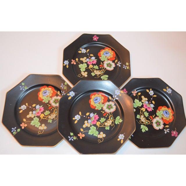 Ceramic 1920s Antique Art Deco Black and Floral Plates - Set of 4 For Sale - Image 7 of 12