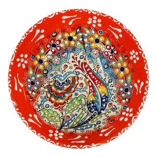 "Turkish Handmade Floral Ceramic 6"" Bowl For Sale"
