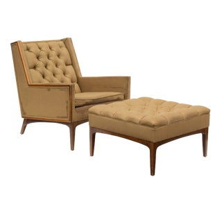 Tufted Armchair With a Walnut Frame and Matching Ottoman For Sale