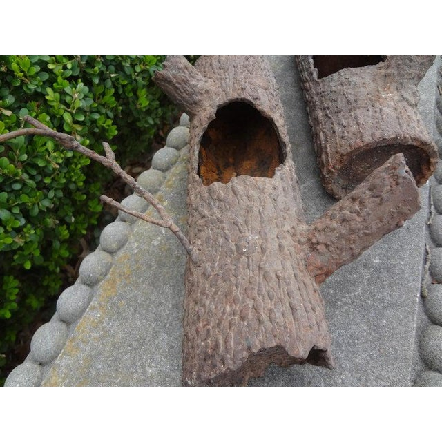 Brown Iron Faux Bois Log Sculptures-A Pair For Sale - Image 8 of 12