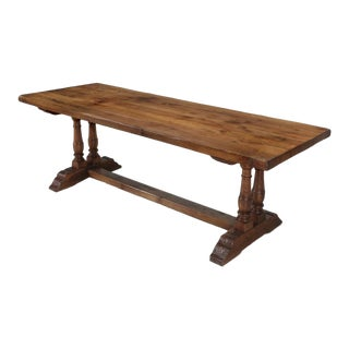 Antique French White Oak Trestle Table C. 1880 For Sale