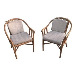 1970s Boho Chic Bamboo Arm Chairs- A Pair For Sale