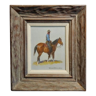"""1968 """"Cowboy"""" Western Oil Painting by Nicholas Samuel Firfires For Sale"""