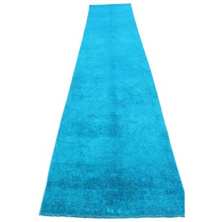 Overdyed Blue Turquoise Rug Runner - 2′8″ × 13′8″ For Sale