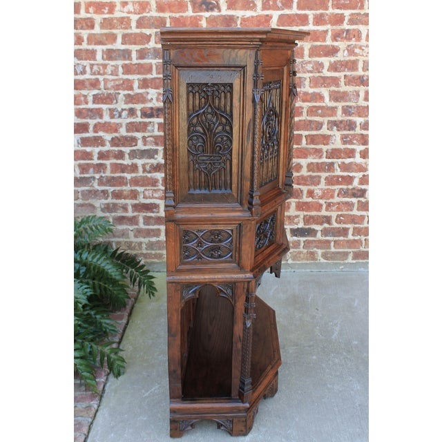 Brown Antique French Gothic Vestry Sacristy Cabinet Oak 19th Century For Sale - Image 8 of 13