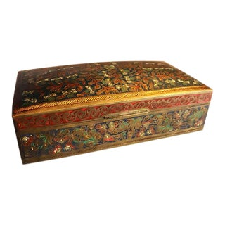 Antique French Enamel Champleve Box For Sale