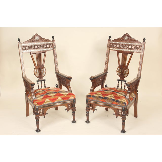 Late 20th Century Vintage Middle Eastern Armchairs- A Pair For Sale - Image 13 of 13