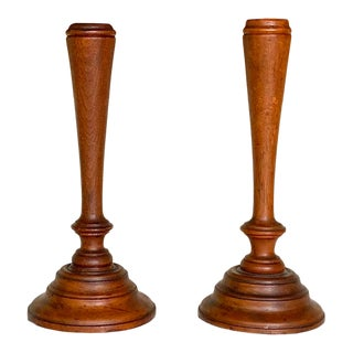 Colonial Era Candlesticks, Early American Handmade Wood Candle Stands For Sale