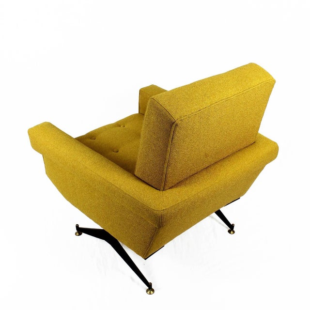 Metal 1960s Pair of Padded Armchairs, Yellow Upholstery, Steel, Brass - Italy For Sale - Image 7 of 11