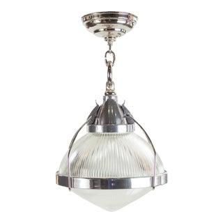 Vintage Industrial Chrome, Aluminum & Holophane Glass Pendant Lamp For Sale