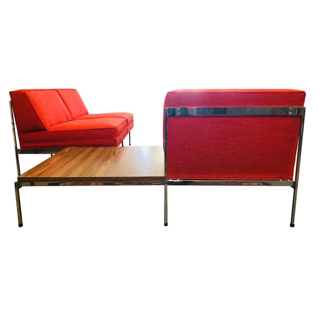 Mid-Century Modern Robert John Company Two Piece Chrome Sectional with Attached Side Table For Sale In Phoenix - Image 6 of 11