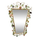 Image of Vintage Italian Shabby Chic Floral Tole Wall Mirror For Sale