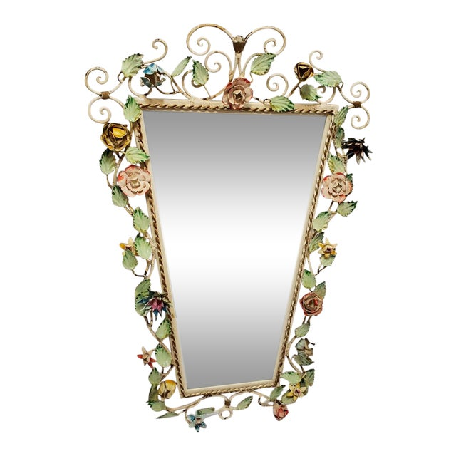 Vintage Italian Shabby Chic Floral Tole Wall Mirror For Sale