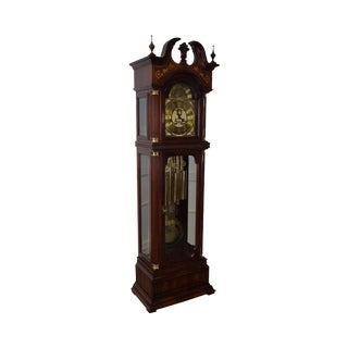 Charles Sligh Mahogany Inlaid 9 Tube Grandfather Clock For Sale