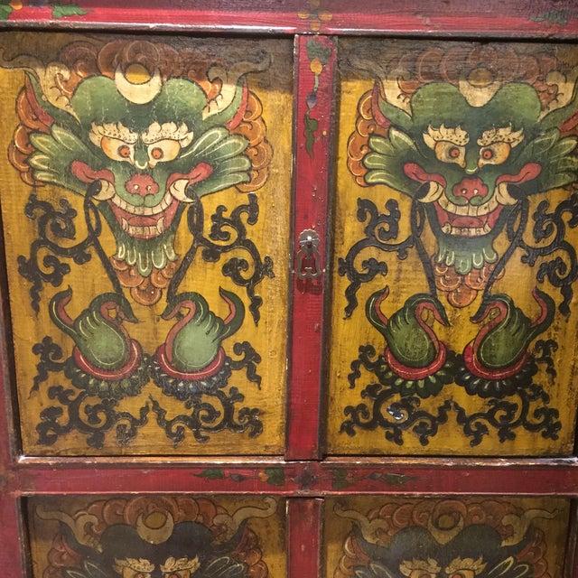 Antique Tibetan Hand-Painted Six Door Cabinet - Image 7 of 9