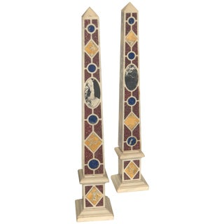 Early 20th Century Antique Grand Tour Marble Specimen Obelisks - a Pair For Sale