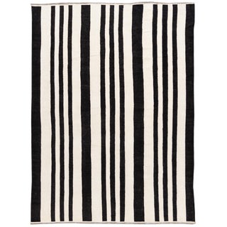 A Large Contemporary Striped Kilim Flatweave Wool Rug For Sale