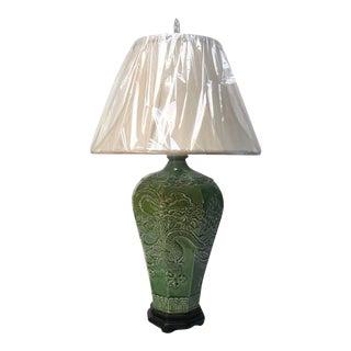 Chinese Green Dragon Phoenix Porcelain Vase Table Lamp