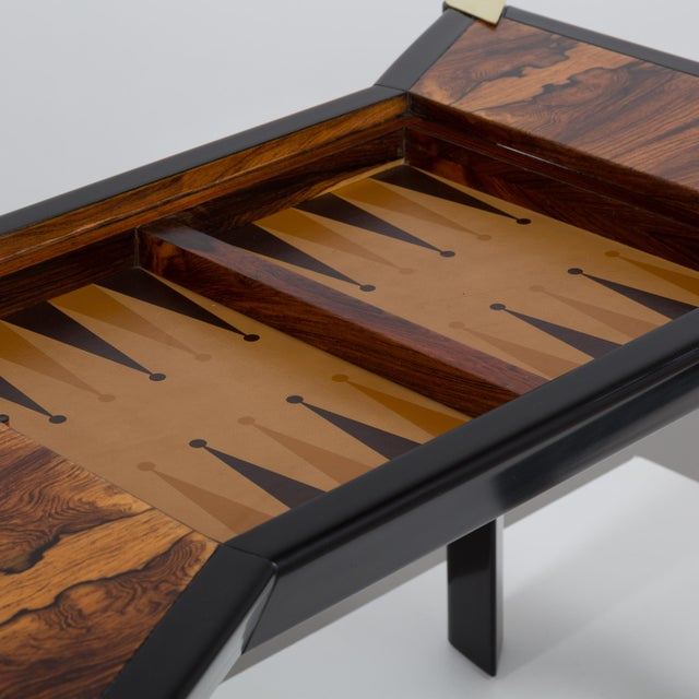 An Italian Ebonised Wood and Brass Games Table 1950s - Image 7 of 10