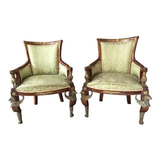Antique Louis XVI Egyptian Revival Style Griffen and Sphinx Chairs - a Pair For Sale