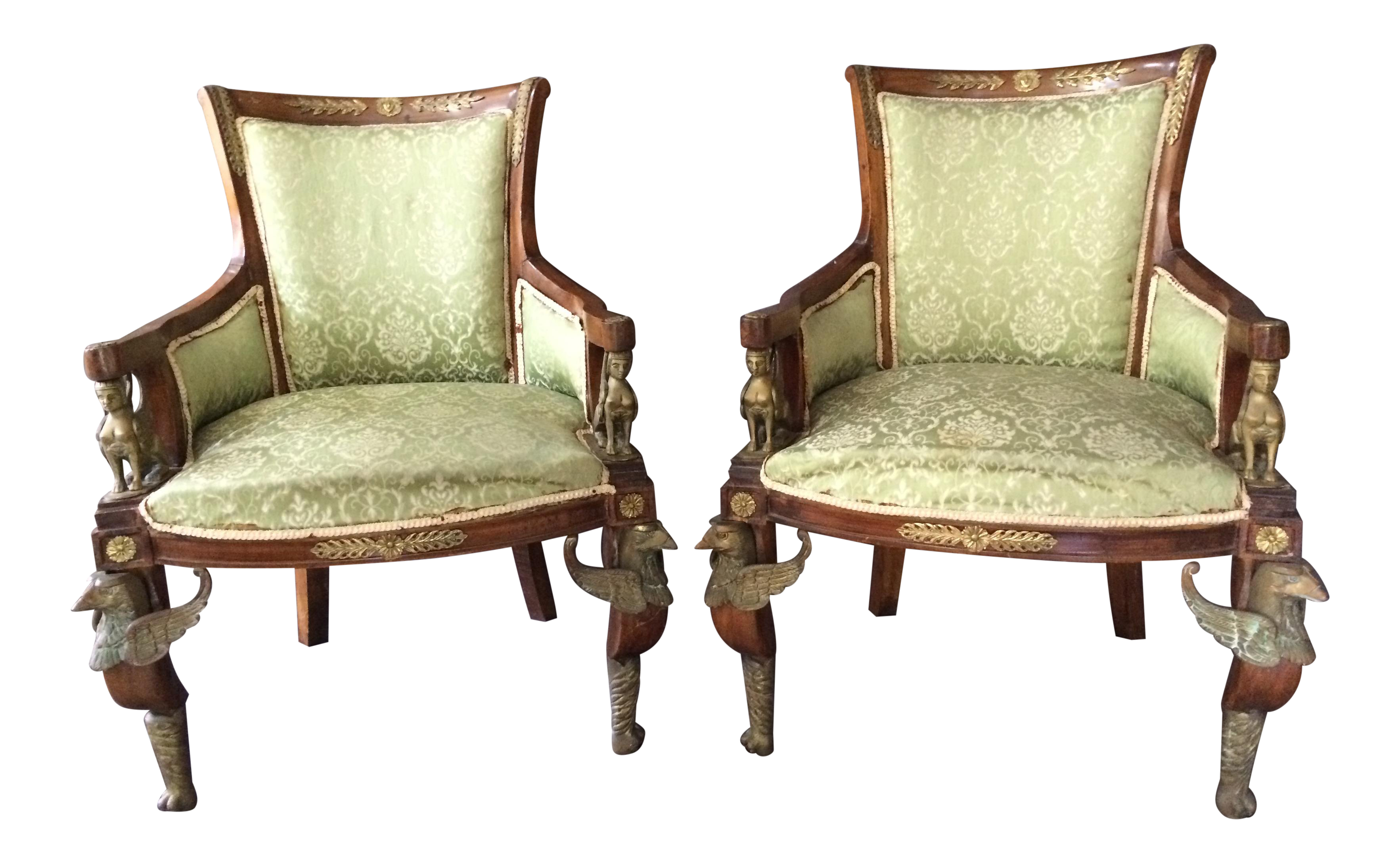 Antique Louis XVI Egyptian Revival Style Griffen And Sphinx Chairs   A Pair