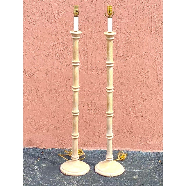 Vintage Coastal Carved Bamboo Floor Lamps - a Pair For Sale - Image 10 of 10
