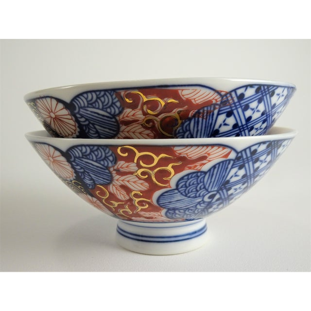 Ceramic Chinoiserie Imari Porcelain Rice Bowls - a Pair For Sale - Image 7 of 12