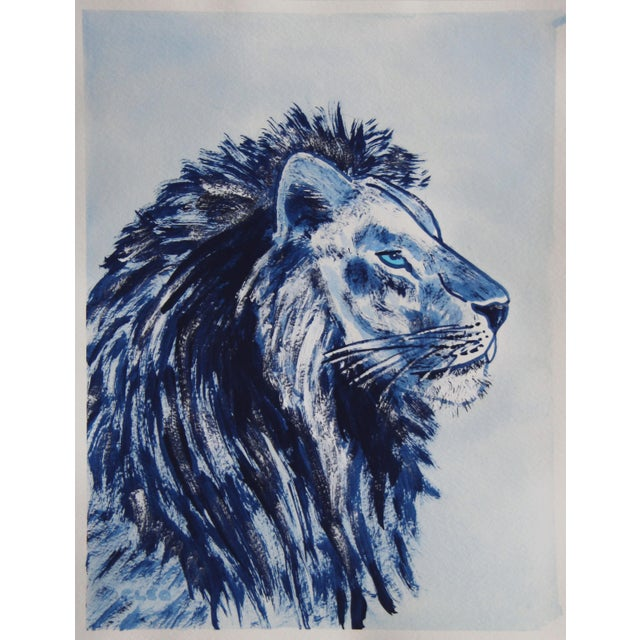 Contemporary Indigo Blue Lion by Cleo Plowden For Sale - Image 3 of 10