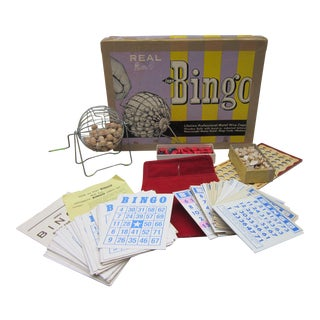 1940s E.S. Lowe Bingo Cage and Game Set For Sale