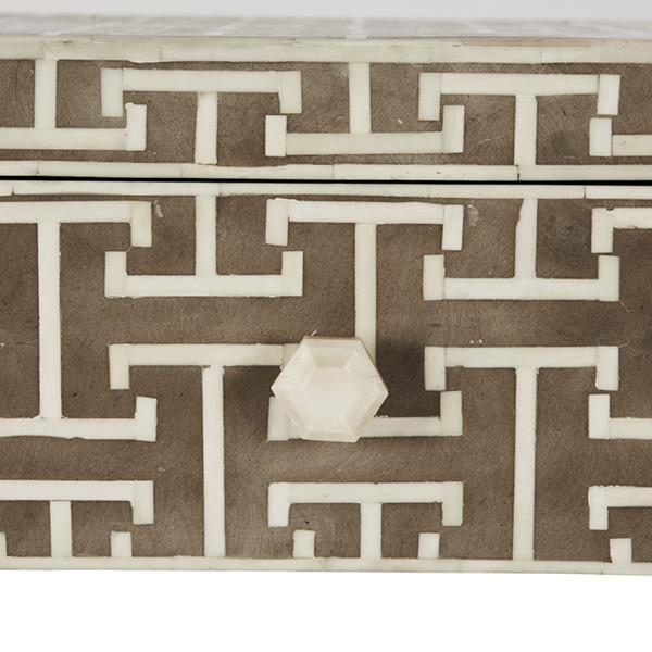 Hollywood Regency Hermes Inlaid Bone Side Table For Sale - Image 3 of 6
