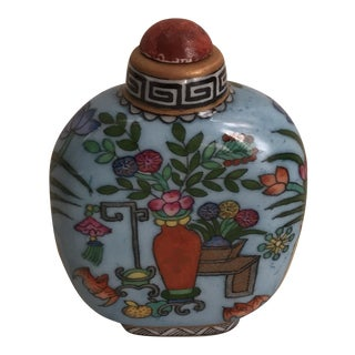 Asian Turquoise Hand Painted Porcelain Bottle For Sale