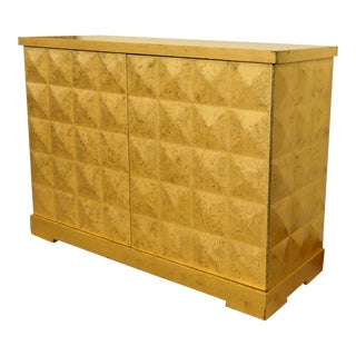 Baker Barbara Barry Giltwood Gold Leaf Diamond Cabinet For Sale