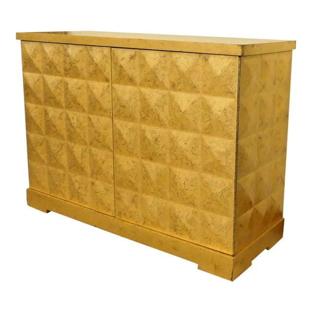 Baker Barbara Barry Giltwood Gold Leaf Diamond Cabinet For Sale