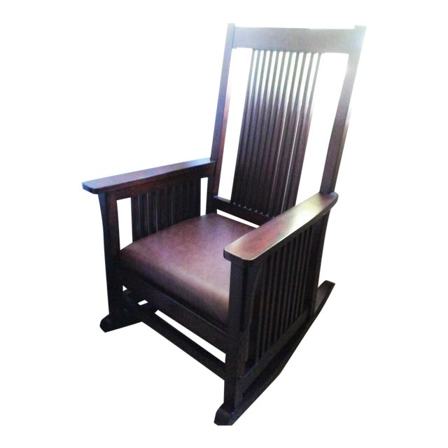 Mission Style Wood Rocking Chair With Leather Seat - Image 1 of 3