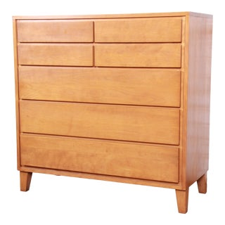 Russel Wright for Conant Ball Mid-Century Modern Solid Maple Highboy Dresser, 1950s For Sale