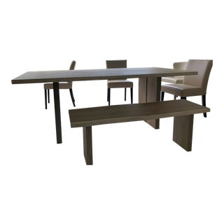 Crate & Barrel European White Oak Dining Table With Matching Bench Set For Sale