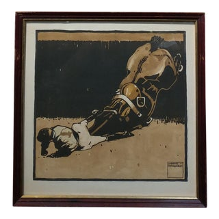 """Jockey Falling From a Horse"" Original Color Woodcut Print by Ludwig Hohlwein --C.1910 For Sale"