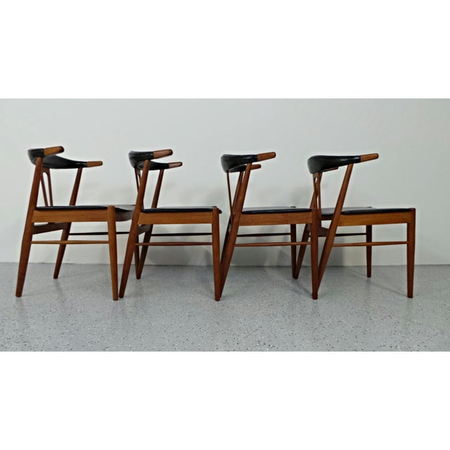 Hans Wegner Style Teak Leather Dining Chairs - 4 - Image 8 of 10