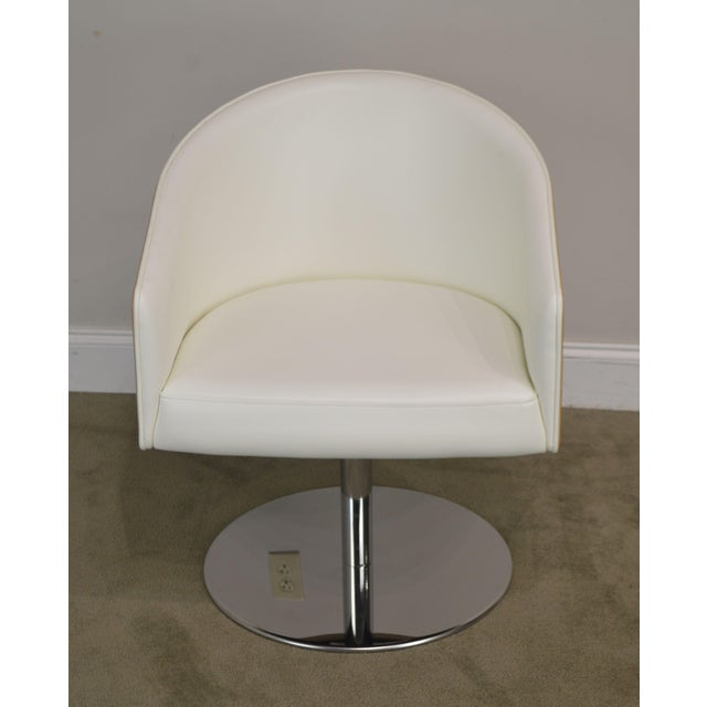 White Leather & Zebra Wood Barrel Back Pair Chrome Pedestal Swivel Lounge Chairs by Cape (B) For Sale - Image 4 of 13