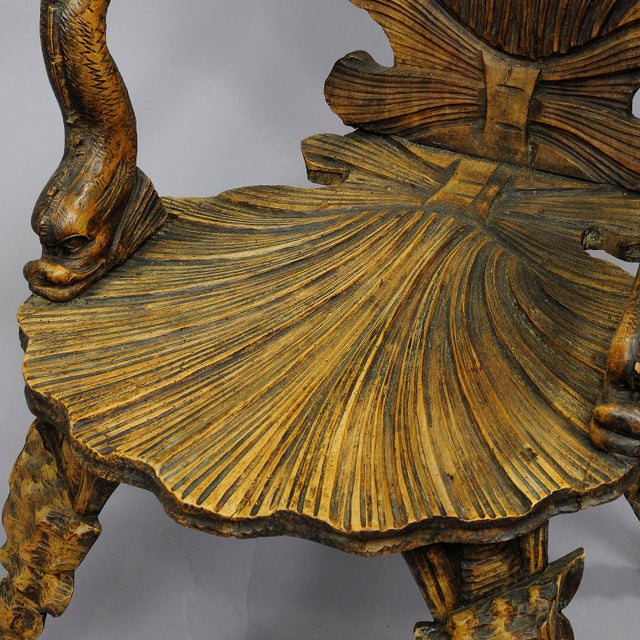 Wood Antique Wooden Carved Grotto Armchair Ca. 1880 For Sale - Image 7 of 9