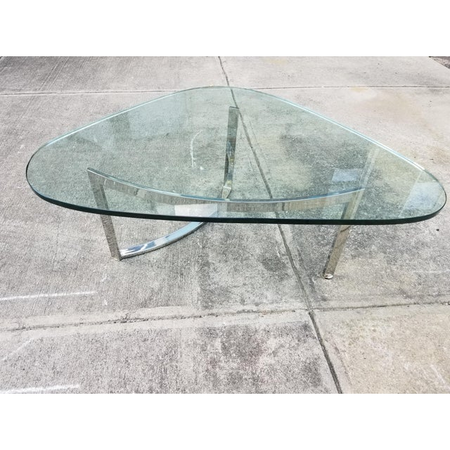 Mid-Century Modern Italian Glass & Chrome Boomerang Style Coffee Table - Image 7 of 10