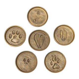 1960's-70's Signed Rowland Ward Brass Animal Print Coasters - Set of 6 For Sale