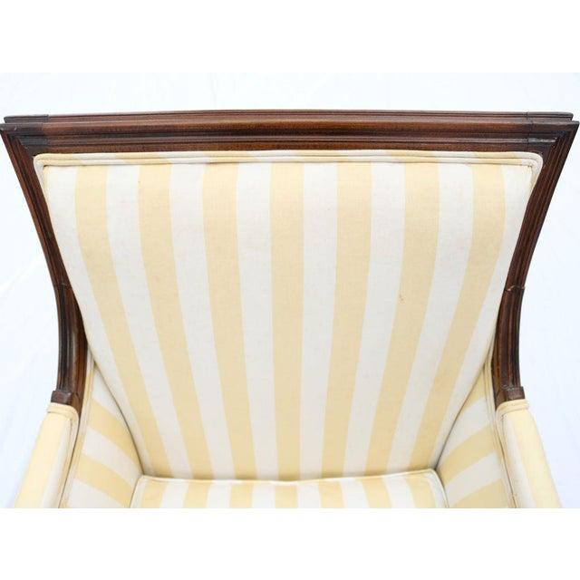 Louis XVI Style Striped Upholstery Walnut Bergère - Image 10 of 11