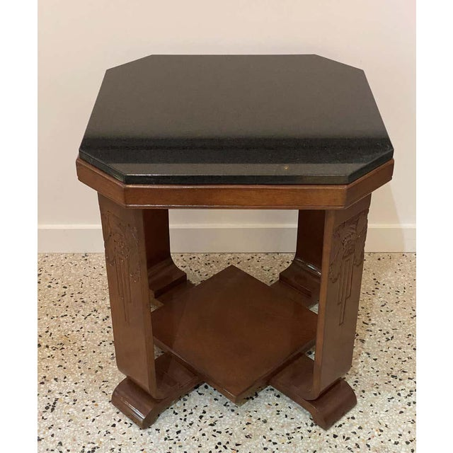 1930s American Art Deco Side Table With Polished Black Granite Top 1930s For Sale - Image 5 of 11