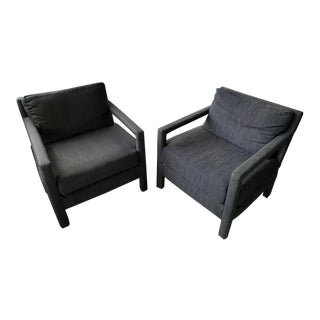 Mid Century Black Parsons Chairs- a Pair For Sale