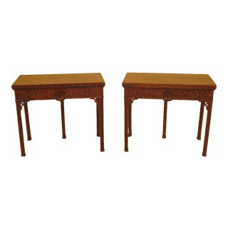 Chippendale Theodore Alexander Chippendale Mahogany Flip Top Tables - a Pair For Sale