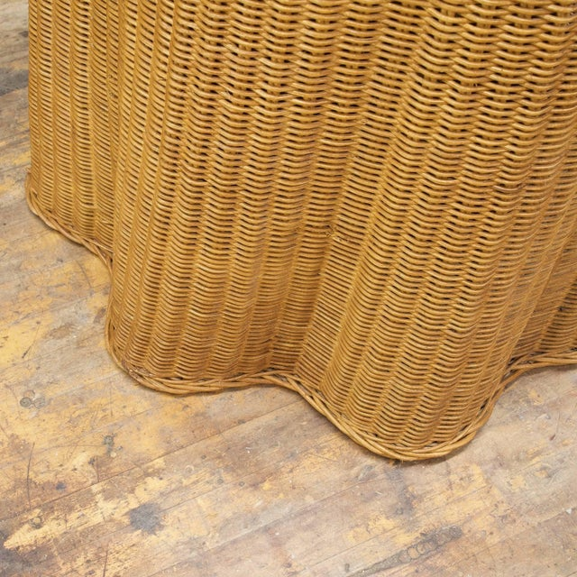 Rattan Trompe l'Oeil Rattan Draped Wicker Ghost Entryway Table Pedestal Mid-Century For Sale - Image 7 of 9