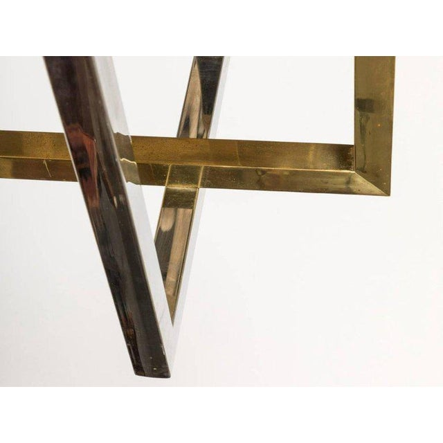 Paul Evans style console table. A Paul Evans style brass and chrome based multi drawer console table. The large brass...