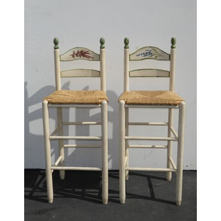 French Country White Rush Seat Bar Stools -- A Pair Preview